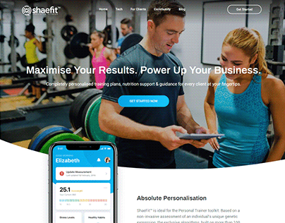 Shaefit Trainers Webpage user interface Design