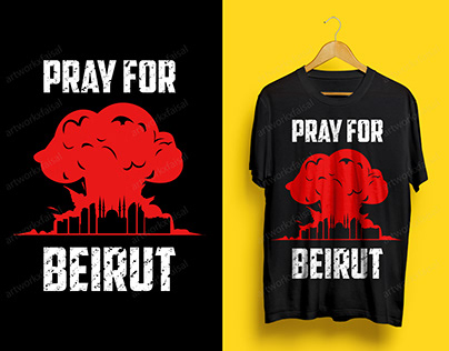 Beirut Explosion PRAY FOR LEBANON T-Shirt Design.