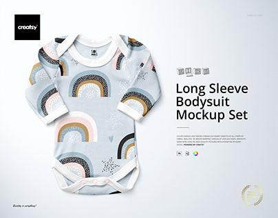 Baby Long Sleeve Bodysuit Mockup Set