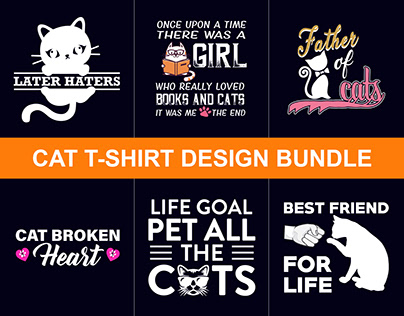 Cat T-Shirts Design Bundle​​​​​​​ + T-Shirt Free Mockup