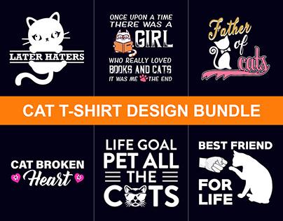 Cat T-Shirts Design Bundle + T-Shirt Free Mockup