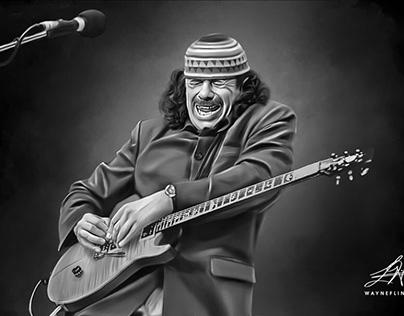 Carlos Santana Digital Oil Painting by Wayne Flint