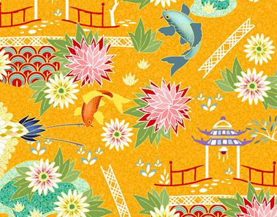 kimono japanese garden pattern