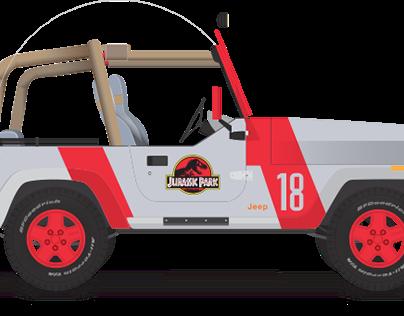 Jurassic Park Jeep Illustration