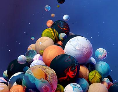 Exoplanets • 3D Illustration • Science