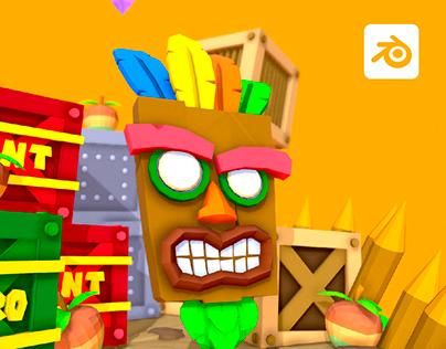 Crash Bandicoot Lowpoly - Games Diorama