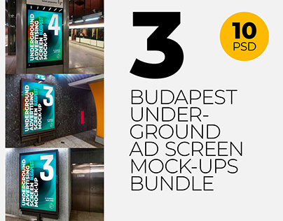 Budapest Underground Ad Screen Mock-Ups Bundle