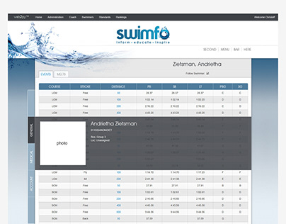 Logo and Front-end Interface Design - Swimfo