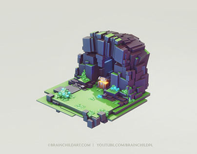 LOWPOLY Cube Worlds #7 | Flat Shading | 3D Modeling