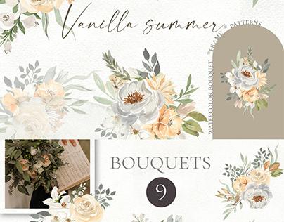 Vanilla summer. Watercolor bouquets, frames, patterns