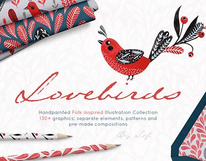 Lovebirds folk art patterns and graphics pack.