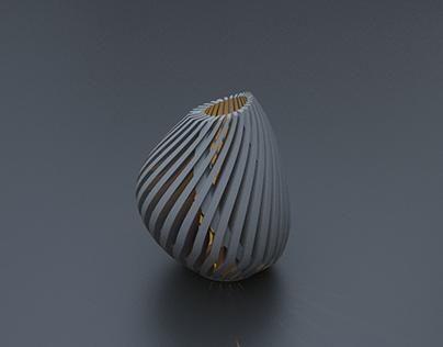 3D+Clay light vase