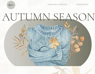 Autumn Watercolor. Cozy Season