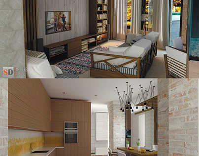 Design one bedroom flat in Loft interior style.