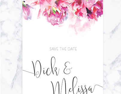 Save the Date - wedding announcement - flowers