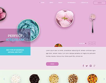 Organic Ice cream.landing page