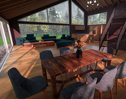 Open concept cabin, my own design, rendered in Cycles.