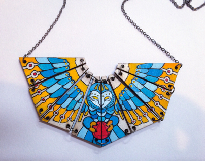 Hand painted owl necklace