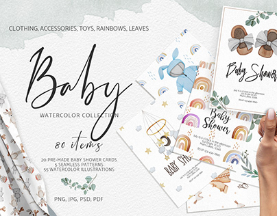 Watercolor baby collection
