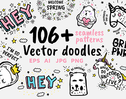 106+ vector doodles, seamless patterns +FREE