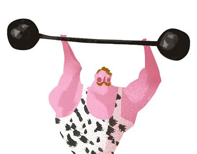 pink athletes illustrations