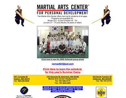 MARTIAL ARTS CENTER –Web Design
