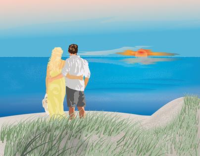 Sunset at the North Sea Coast