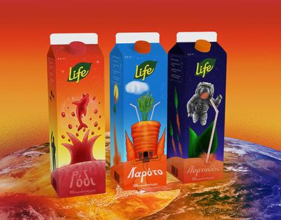 Life Juice Packaging Illustration