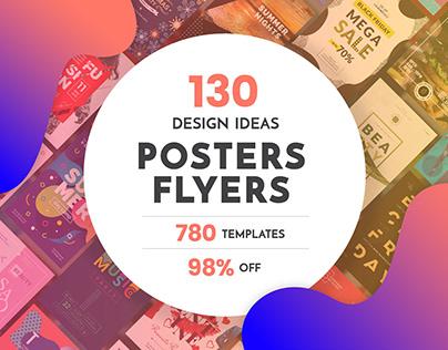 130 in 1 Poster & Flyer Design Templates Bundle