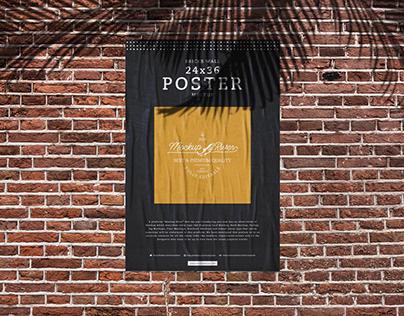Bricks Wall 24×36 Poster Mockup Free
