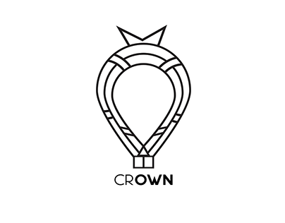 Crown hot air balloon logo design #Day 2