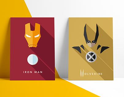 Minimalistic Flat Design Comic hero poster