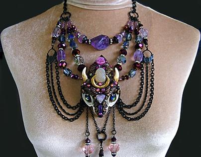 PYEWACKET THE WISE Cat Skull Crystal Amulet Necklace