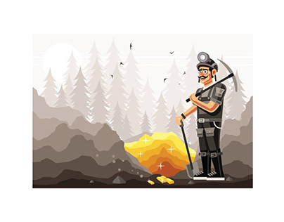 Gold Miner Graphics Vector Illustration Free Download