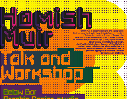Poster for a Hamish Muir talk and workshop