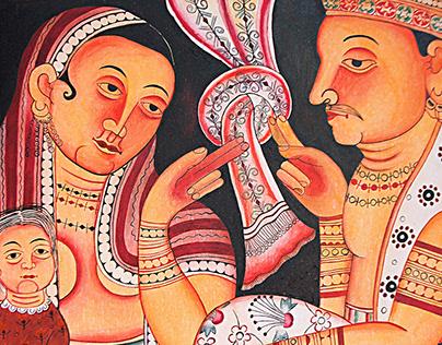 SRI LANKA OLD KANDY ART STYLE PAINTING 04