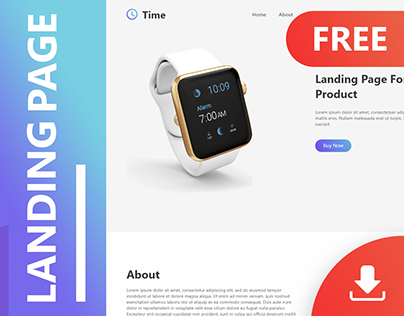FREE Landing Page template (Adobe XD) / smart watch