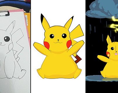 Picachu, Draw,Vector,Animated