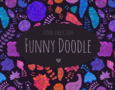 Funny floral doodle patterns and elements