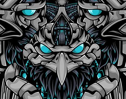 The Eagle Mechanic Cyborg Sacred Geometry