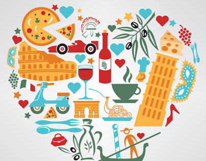 Vector illustration of Italy culture