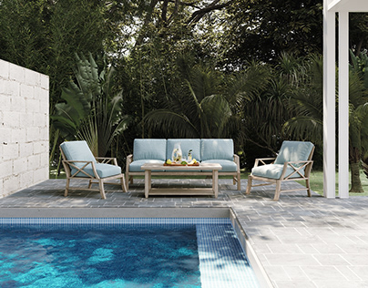 Outdoor Garden and Pool Furniture CGI | Archviz