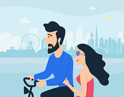 Lovers Cycling Illustration