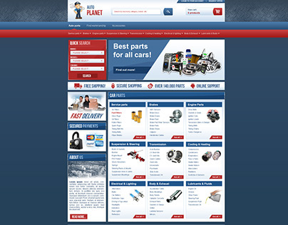 Car parts online store layout