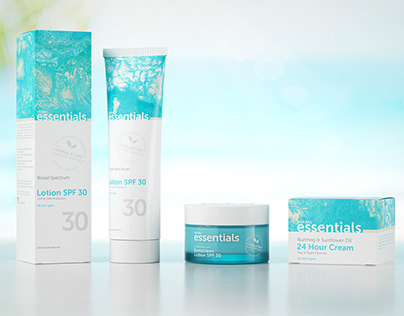 Packaging design for skin care cream line of Essentials