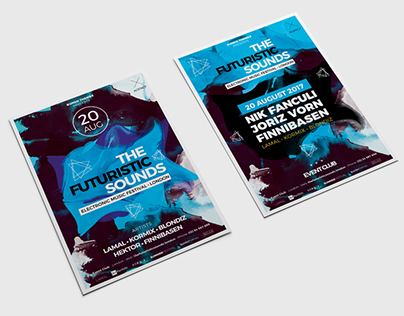 The Futuristic Sounds Flyer | Poster PSD Template