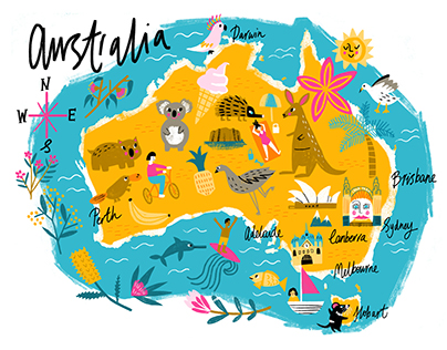 Illustrated map of Australia
