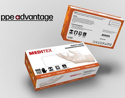 PPE Advantage Medical Gloves Package Design