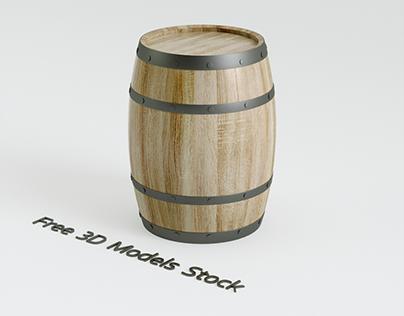 Wood Barrel Free 3D Model