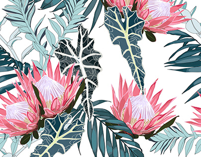 Hand drawn tropical summer protea seamless pattern.